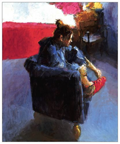 Blue armchair II, Oil / canvas, 2002, 120 x 100 cm, Sold
