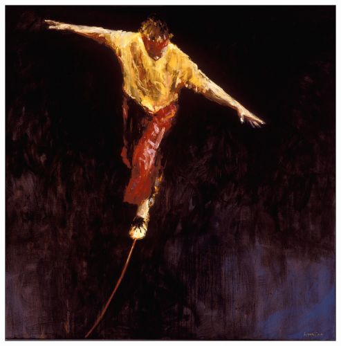 Tightrope Walker, Oil / canvas, 2001, 150 x 150 cm, Sold