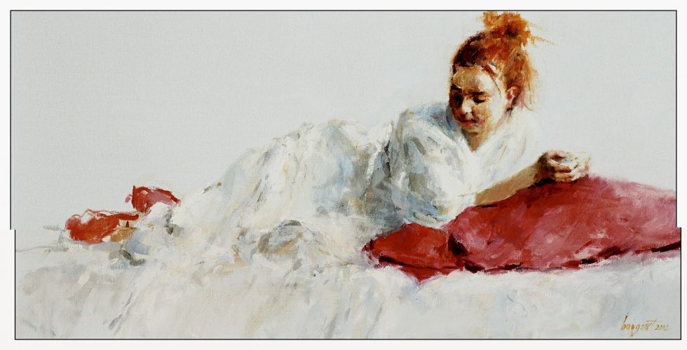 Reclining model, Oil / canvas, 2002, 45 x 100 cm, Sold