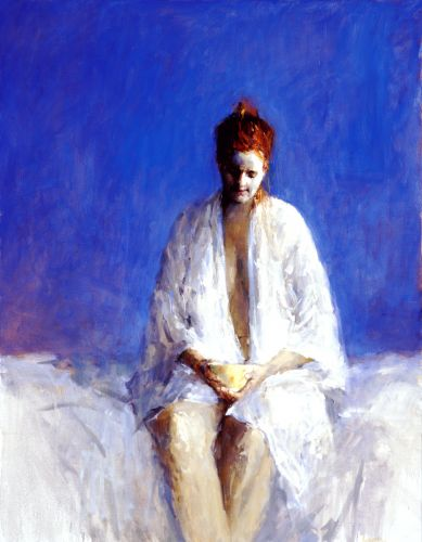Model with bowl, Oil / canvas, 2002, 130 x 110 cm, Sold