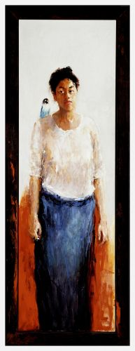 Model with bird, Oil / canvas, 2002, 160 x 50 cm, Sold