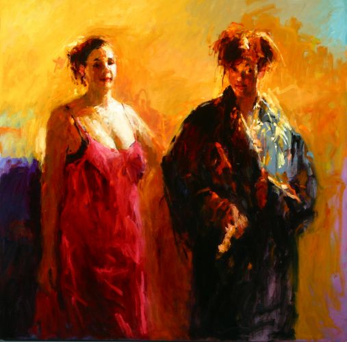 Two models, Oil / canvas, 2003, 150 x 150 cm, Sold