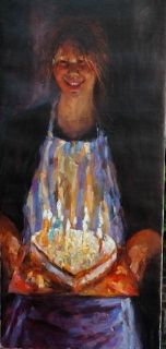 The birthday-cake, oil / canvas, 2009, 120 x 55 cm, Sold