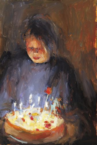 Cake for Grandma, oil/wood, 2006, 65 x 44 cm, Sold